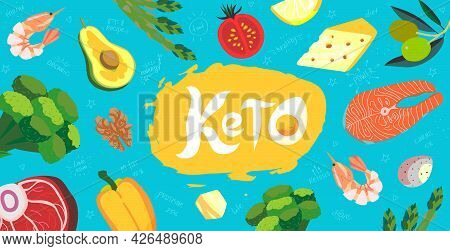 Keto Diet Long Banner With Keto Foods. Ketogenic Diet Products In Flat Cartoon Style. Vector Of Low-