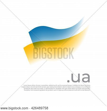 Ukraine Flag Watercolor. Colored Stripes Ukrainian Flag On A White Background. Vector Stylized Desig