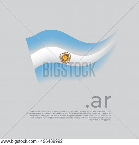 Argentina Flag. Stripes Colors Of The Argentinian Flag On A White Background. Vector Stylized Design