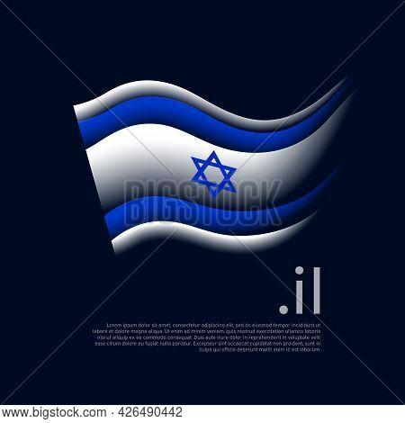 Israel Flag. Stripes Colors Of The Israeli Flag On A Dark Background. Vector Stylized Design Nationa