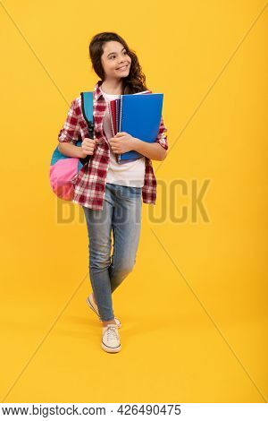 My Future Is In My Hands. Happy Child Carry Books And Backpack. Back To School. School Education