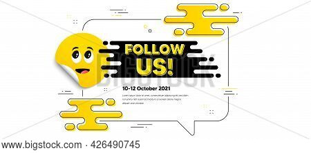 Follow Us Text. Cartoon Face Sticker With Chat Bubble Frame. Special Offer Sign. Super Offer Symbol.