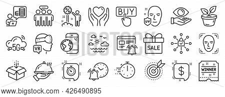 Set Of Business Icons, Such As Cooking Timer, Alarm Clock, Augmented Reality Icons. Leaves, Winner T