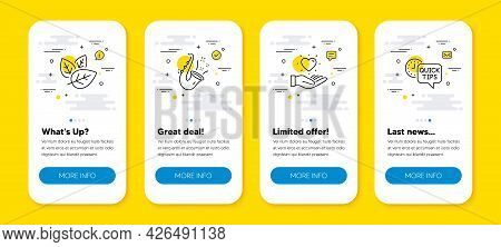 Vector Set Of Jazz, Organic Tested And Hold Heart Line Icons Set. Ui Phone App Screens With Line Ico