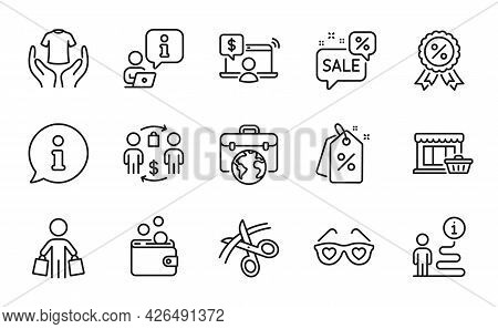 Fashion Icons Set. Included Icon As Discount Tags, Hold T-shirt, Buying Process Signs. Buyer, Online