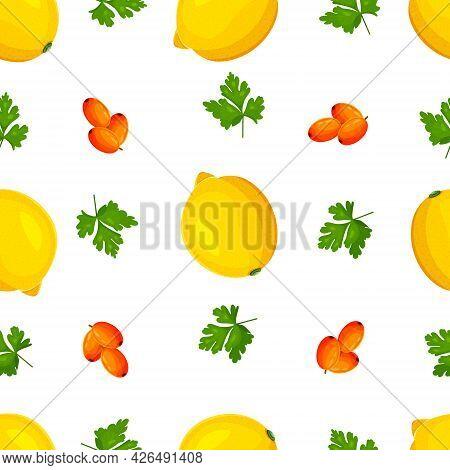 Pattern Of Lemons And Sea Buckthorn. Seamless Vector Pattern With Lemons Sea Buckthorn. Vector Illus