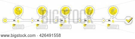 Business Infographic Timeline With 5 Steps. Lightbulb Journey Path Infographics. Workflow Process Di