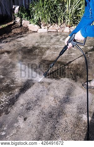 High Pressure Washer Cleaning Backyard Or Driveway Concrete Paving, Diy And Home Improvement