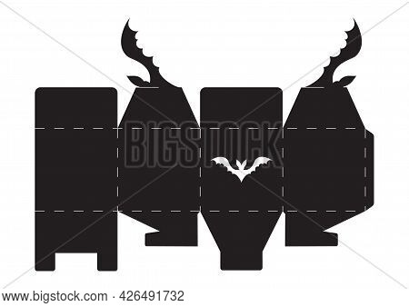 Happy Halloween Treat Box. Simple Packaging Die Cut Template For Sweets, Candies, Small Presents, Ba