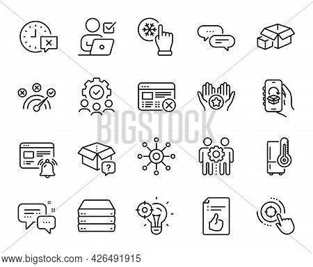 Vector Set Of Reject Web, Refrigerator And Dots Message Line Icons Set. Teamwork, Favorite And Secre