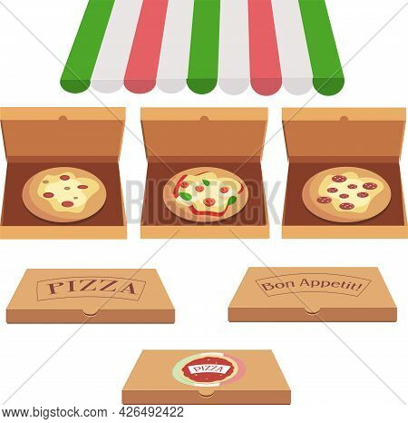 Set Of Three Pizzas And Three Closed Pizza Boxes