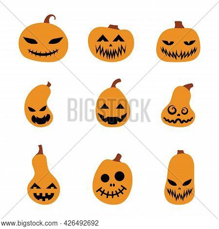 Set Of Halloween Scary Pumpkins. Illustration Of Jack-o-lantern Facial Expressions. Simple Collectio