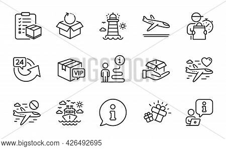 Transportation Icons Set. Included Icon As Arrivals Plane, 24 Hours, Lighthouse Signs. Hold Box, Can