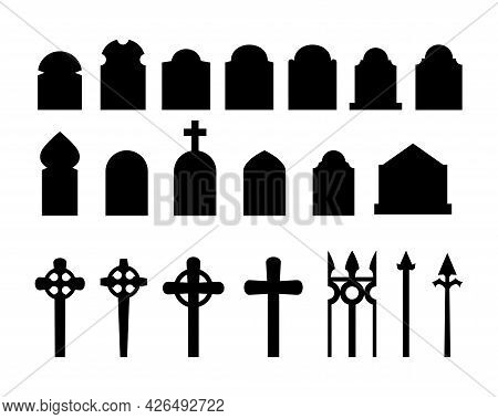 Set Of Black Silhouettes Of Headstones, Fences, Crosses. Spooky Horror Design Decoration For Hallowe