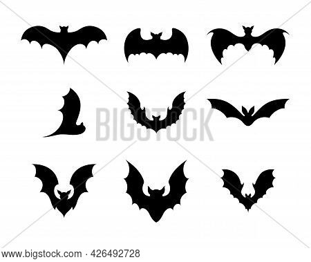 Set Of Black Silhouettes Of Bats. Creepy Decoration Of Horror Design For Halloween Party. Spooky Bac