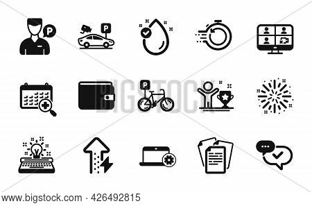 Vector Set Of Fast Recovery, Energy Growing And Notebook Service Icons Simple Set. Bicycle Parking,