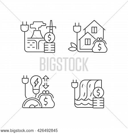 Electrical Power Cost Linear Icons Set. Geothermal Energy Purchase. Electricity Consumption. Customi