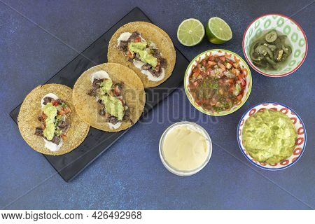 Mexican Tacos Served And Ready To Eat.