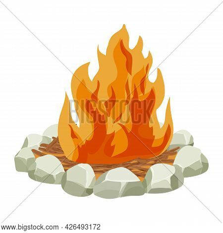 Fireplace, Fire With Wooden Tree Sticks, Twigs And Stones In Cartoon Style Isolated On White Backgro