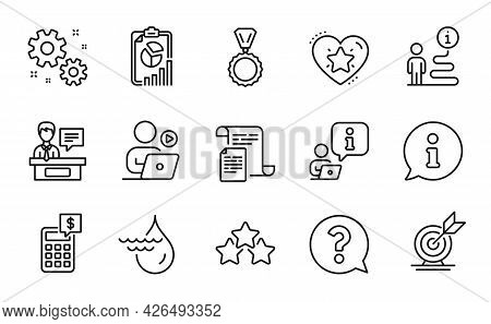 Education Icons Set. Included Icon As Hydroelectricity, Calculator, Question Mark Signs. Documents,