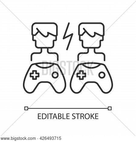Player Versus Player Games Linear Icon. Users Compete Against Each Other. Fun Friends Time. Thin Lin