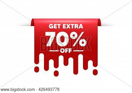 Get Extra 70 Percent Off Sale. Red Ribbon Tag Banner. Discount Offer Price Sign. Special Offer Symbo