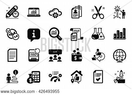 Vector Set Of Education Icons Related To Innovation, Magistrates Court And Recovery Ssd Icons. Proje