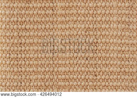 Natural Texture Of Jute, Canvas Close-up, Vintage Ecological Background, Copy Space