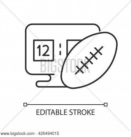 Online Football Games Linear Icon. Modern Sport Matches Simulator Types. Thin Line Customizable Illu