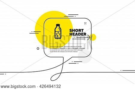 Water Bottle Icon. Continuous Line Chat Bubble Banner. Soda Aqua Drink Sign. Liquid Symbol. Water Bo