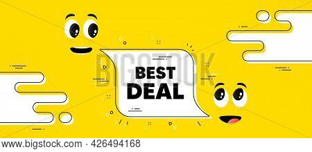 Best Deal Text. Cartoon Face Chat Bubble Background. Special Offer Sale Sign. Advertising Discounts
