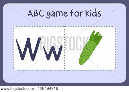 Kid Alphabet Mini Games In Cartoon Style With Letter W - Wasabi . Vector Illustration For Game Desig