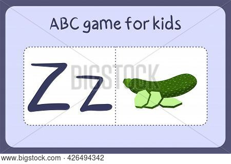 Kid Alphabet Mini Games In Cartoon Style With Letter Z- Zucchini . Vector Illustration For Game Desi