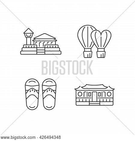 National Taiwanese Linear Icons Set. Longshan Temple. Customizable Thin Line Contour Symbols. Isolat