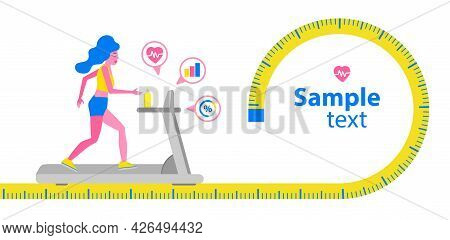 Woman Running On A Treadmill. Fitness Sport Activity Concept.