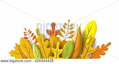 Autumn Leaves 3d Yellow, Red, Brown, Orange Colors. Fall Bouquet. Minimal 3d Render Plasticine, Vect