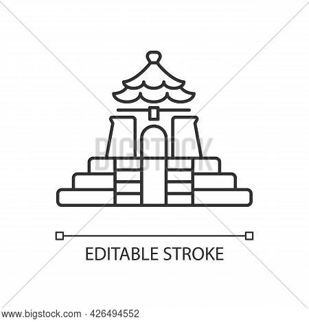 Chiang Kai Shek Memorial Hall Linear Icon. Landmark Tourist Attraction. Thin Line Customizable Illus
