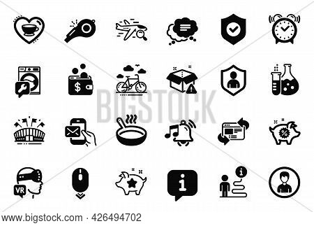 Vector Set Of Business Icons Related To Sports Arena, Washing Machine And Text Message Icons. Alarm