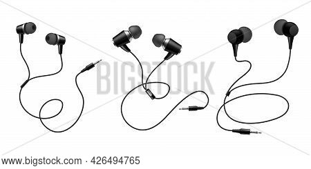 Earphones. Black Headphone. Realistic Audio Gadget With Speaker. View From Different Sides On Mobile