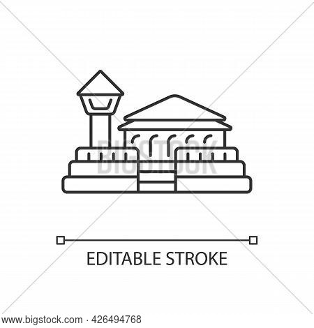 Fort Zeelandia Linear Icon. Asian Ethnic Heritage. Oriental Architecture. Thin Line Customizable Ill