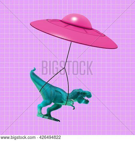 Contemporary Art Collage, Modern Design. Modern Express Delivery. Pink Flying Saucer Delivering Toy