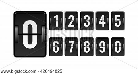 Scoreboard Mechanical. Numbers For Counter. Flipping Watch Panel Elements Kit. Isolated Square Board