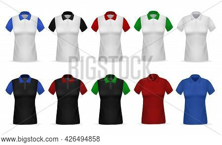 T-shirt Polo. Realistic Female Clothing. White Or Black Garments With Colorful Sleeves And Collar. C