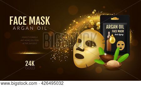 Cosmetics Facial Mask. Realistic 3d Beauty Golden Face Cover With Argan Oil. Skincare Anti Age Essen