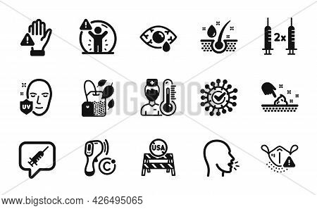 Vector Set Of Usa Close Borders, Skin Moisture And Vaccine Message Icons Simple Set. Cough, Uv Prote