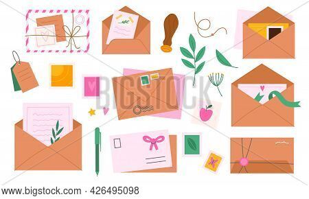 Envelopes With Postmarks. Letters And Greeting Cards Decor. Mail Messages Delivery. Cartoon Craft Po
