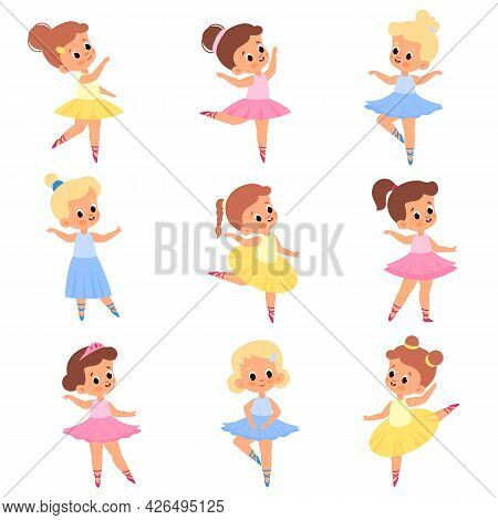 Cute Ballerinas. Girls In Tutus And Pointe Shoes. Young Ballet Dancers. Kids In Different Poses. Rom