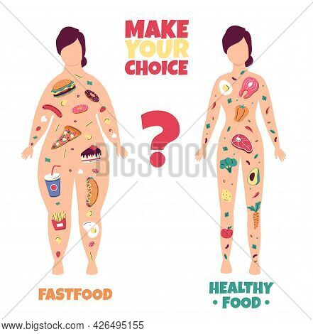Healthy Lifestyle. Fat And Slim Woman Body Scheme With Good Meal And Fast Food Filling. Fitness And