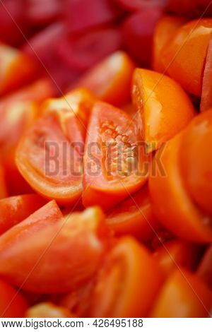Chopped Tomatoes For Cooking. Fresh, Juicy Vegetables. High Quality Photo