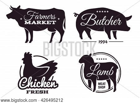 Butchery Shop Labels With Domestic Animals Silhouettes. Meat Store Emblems Design Template. Selling